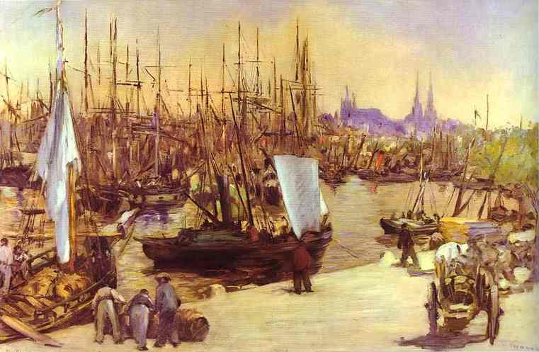 famous painting The Harbour at Bordeaux of Edouard Manet