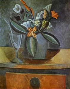 Pablo Picasso - Flowers in a Grey Jug and Wine-Glass with Spoon