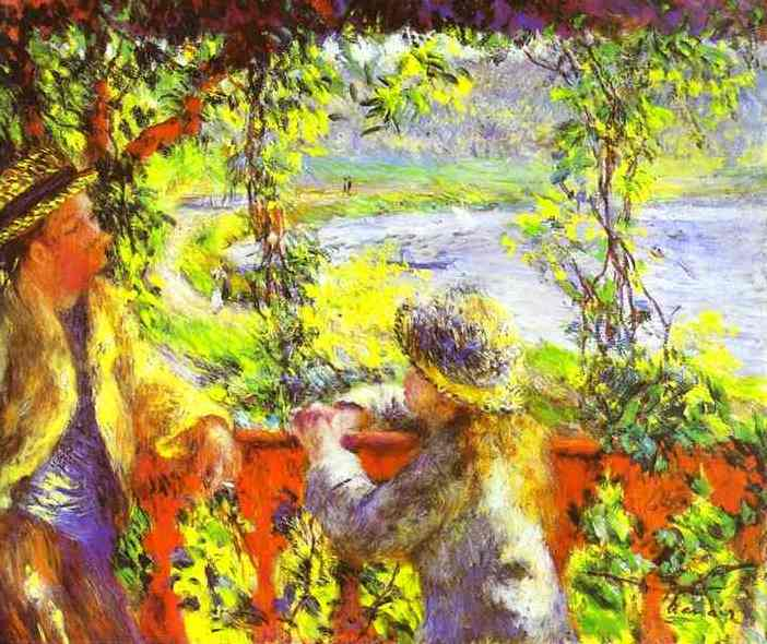 famous painting By the Lake of Pierre-Auguste Renoir