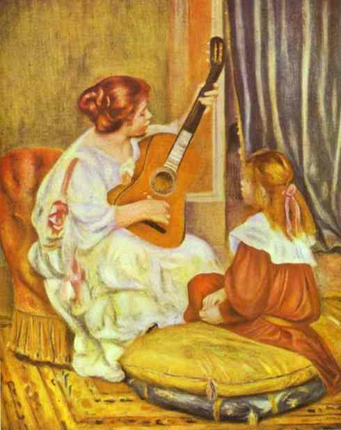 famous painting Guitar Lesson of Pierre-Auguste Renoir