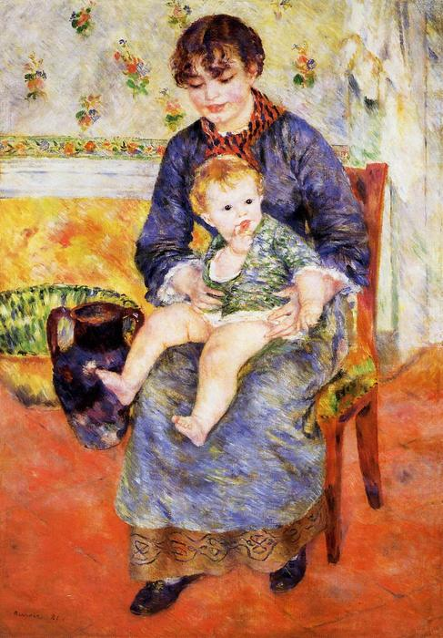 famous painting Mother and Child of Pierre-Auguste Renoir