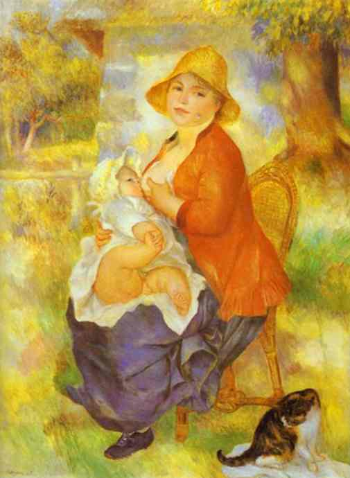 famous painting Mother Nursing Her Child (Aline and Pierre) of Pierre-Auguste Renoir