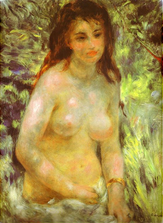 famous painting Nude in the Sunlight of Pierre-Auguste Renoir