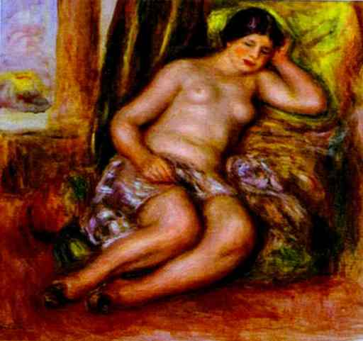 famous painting Sleeping Odalisque (Odalisque with Babouches of Pierre-Auguste Renoir
