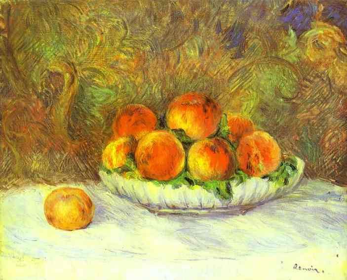 famous painting Still Life with Peaches of Pierre-Auguste Renoir