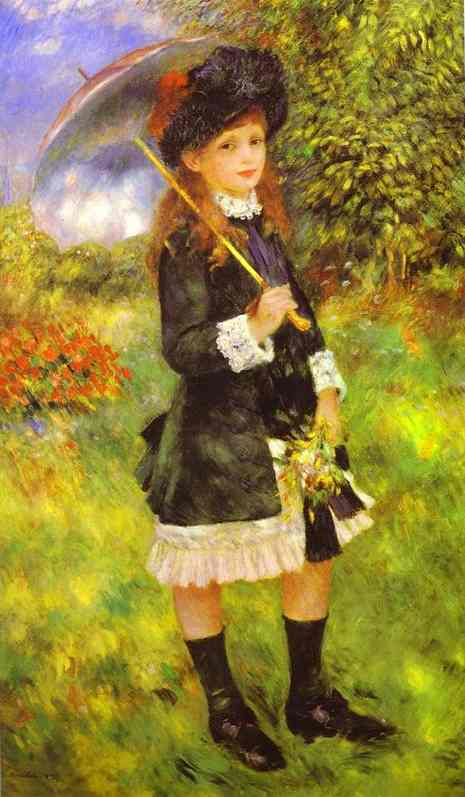 famous painting Young Girl with Parasol (Aline Nunes) of Pierre-Auguste Renoir