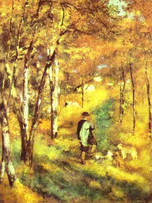 famous painting Young Man Walking with Dogs in Fontainebleau Forest of Pierre-Auguste Renoir