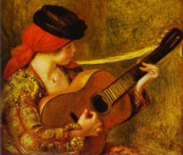 famous painting Young Spanish Woman with a Guitar of Pierre-Auguste Renoir