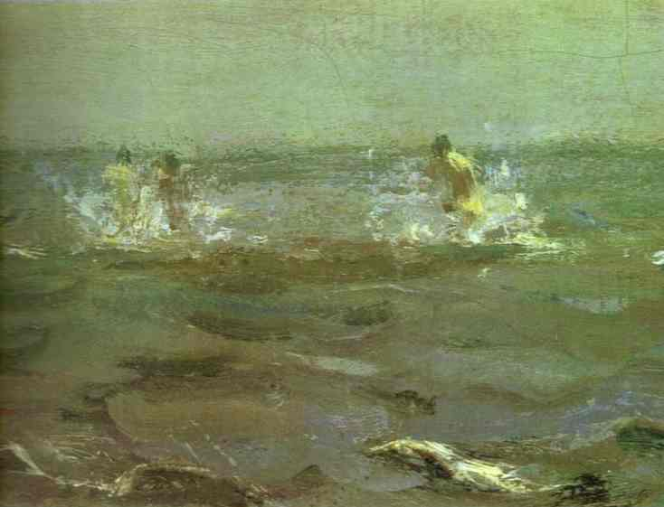 famous painting Bathing of a Horse. Detail of Valentin Alexandrovich Serov