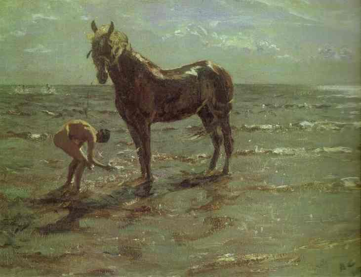 famous painting Bathing of a Horse of Valentin Alexandrovich Serov