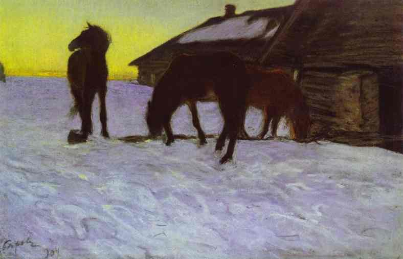 famous painting Colts at Watering-Place. Domotcanovo of Valentin Alexandrovich Serov