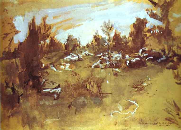 famous painting Herd of Valentin Alexandrovich Serov