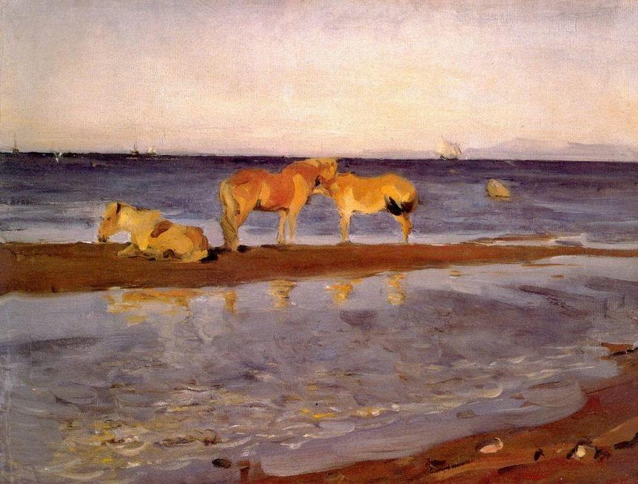 famous painting Horses on a Shore of Valentin Alexandrovich Serov