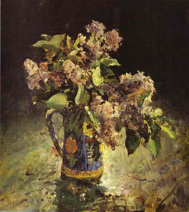 famous painting Lilacs in Vase of Valentin Alexandrovich Serov