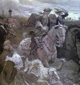 Valentin Alexandrovich Serov - Peter II and Princess Elizabeth Petrovna Riding to Hounds