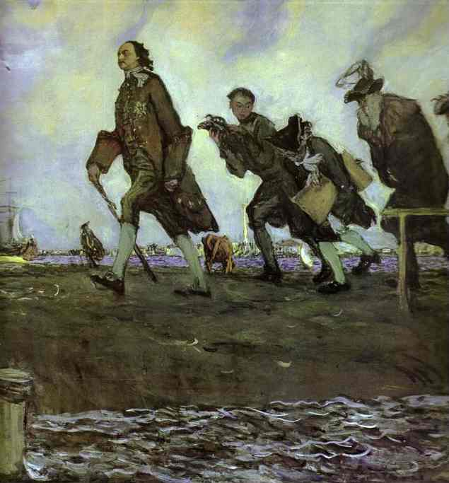 famous painting Peter the Great. Detail of Valentin Alexandrovich Serov
