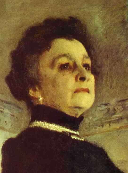 famous painting Portrait of the Actress Maria Yermolova. Detail of Valentin Alexandrovich Serov
