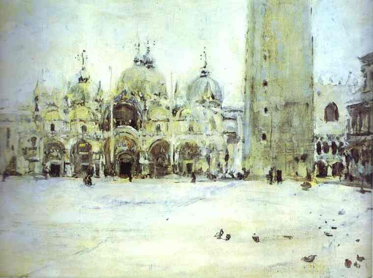 famous painting St. Mark Plaza in Venice. Study of Valentin Alexandrovich Serov