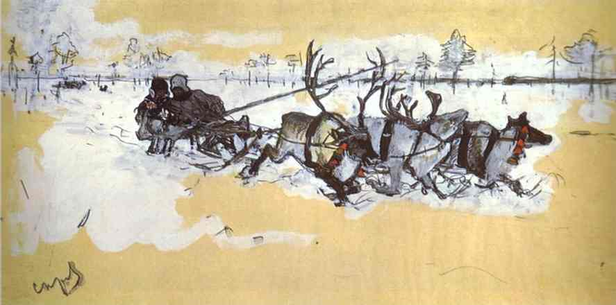 famous painting Tundra. Travelling by Deer of Valentin Alexandrovich Serov