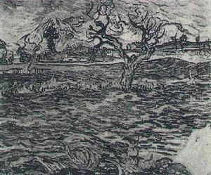 Vincent Van Gogh - Landscape with Olive Tree and Mountains in the Background