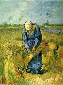 Vincent Van Gogh - Peasant Woman Binding Sheaves after Millet