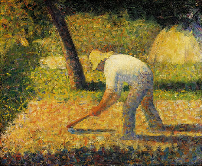 famous painting (Peasant with Hoe) Guggenheim Museum of Georges Pierre Seurat