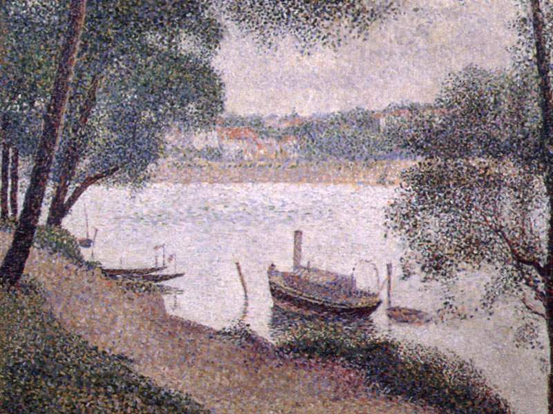 famous painting Landscape with a Boat of Georges Pierre Seurat