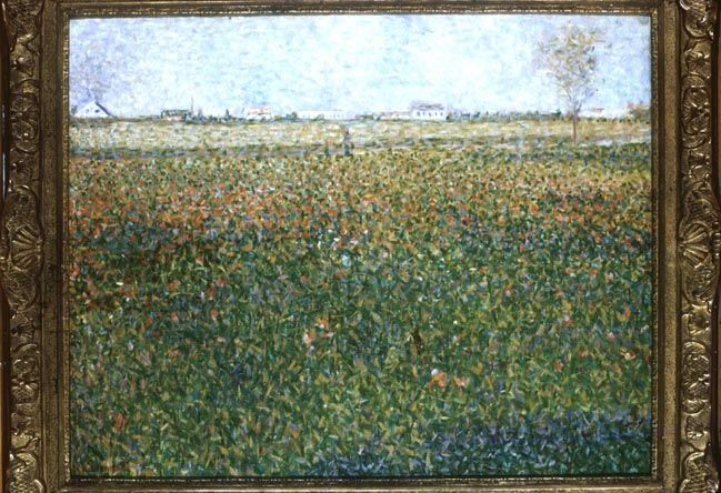 famous painting The Poppy Field, 1884 of Georges Pierre Seurat