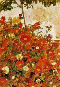 Egon Schiele - Field of Flowers