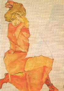 Egon Schiele - Young girl in orange