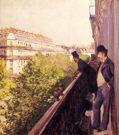 famous painting A Balcony of Gustave Caillebotte
