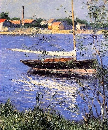 famous painting Anchored Boat on the Seine at Argenteuil of Gustave Caillebotte