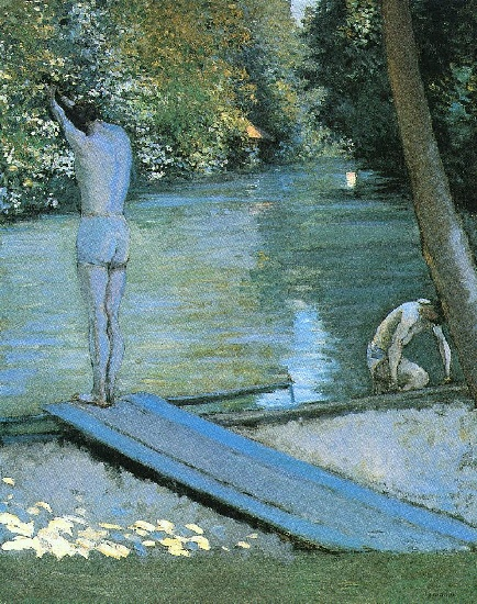 famous painting Bather Preparing to Dive, Banks of the Yerres of Gustave Caillebotte
