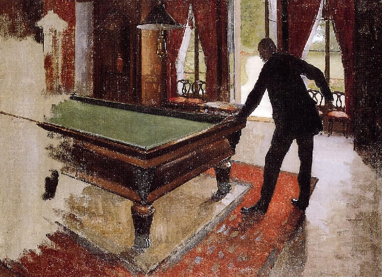 famous painting Billiards (unfinished) of Gustave Caillebotte