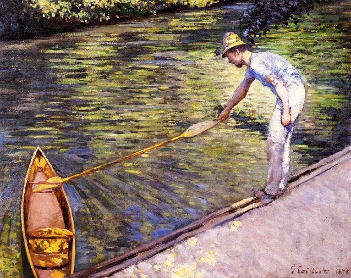 famous painting Boater Pulling on His Perissoire of Gustave Caillebotte