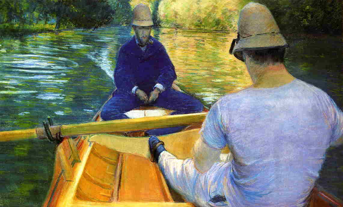 famous painting Boaters on the Yerres of Gustave Caillebotte