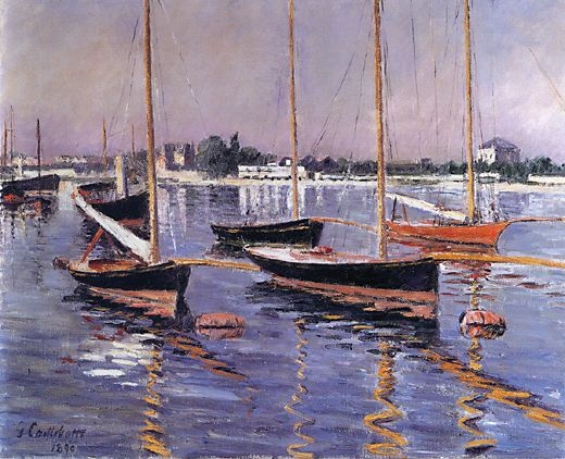 famous painting Boats on the Seine at Argenteuil of Gustave Caillebotte