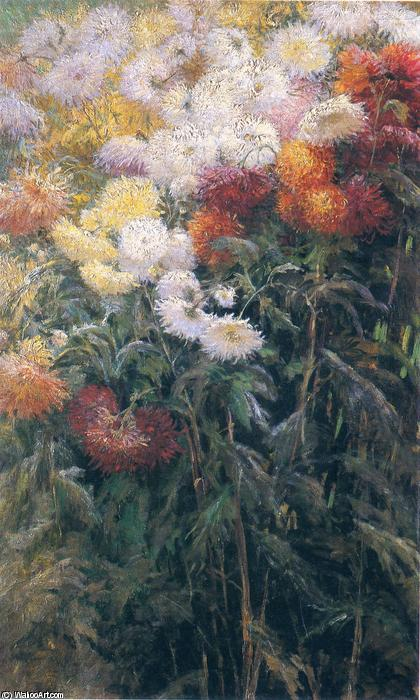 famous painting Clump of Chrysanthemums, Garden at Petit Gennevilliers of Gustave Caillebotte