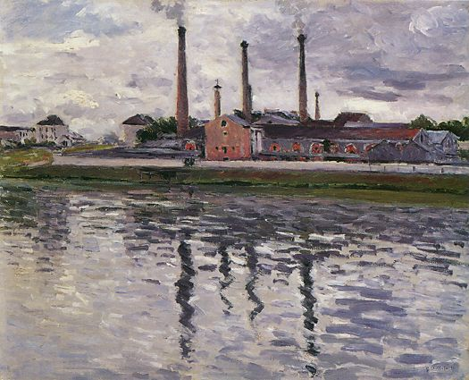 famous painting Factories at Argenteuil of Gustave Caillebotte