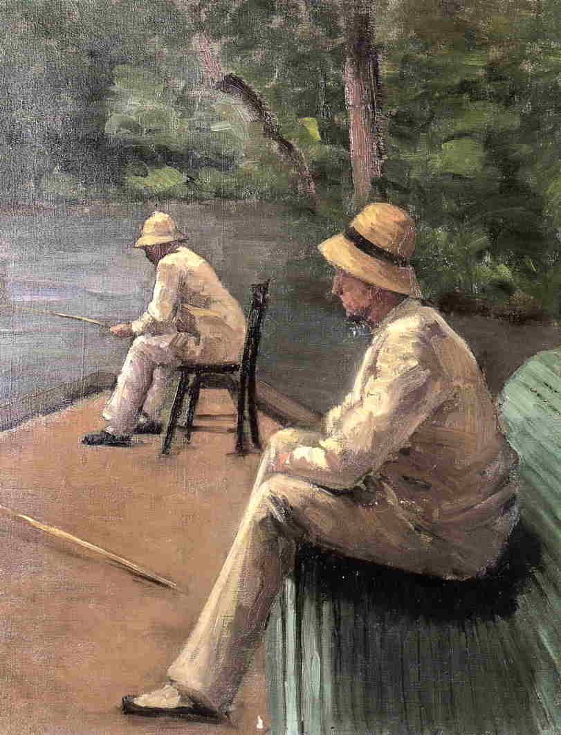 famous painting Fishermen on the Banks of the Yerres of Gustave Caillebotte