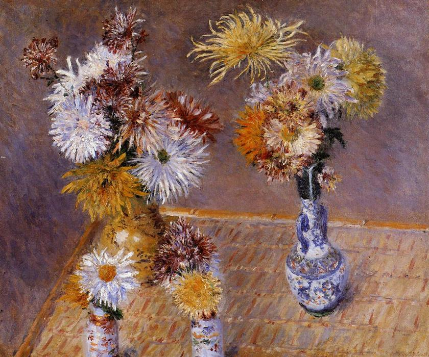 famous painting Four Vases of Chrysanthemums of Gustave Caillebotte