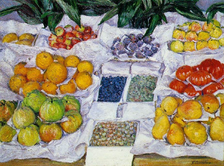 famous painting Fruit Displayed on a Stand of Gustave Caillebotte