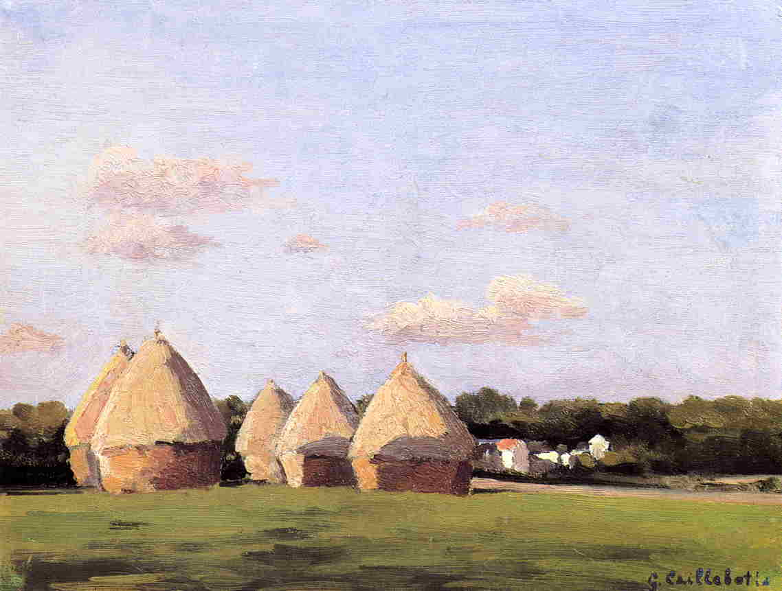 famous painting Harvest, Landscape with Five Haystacks of Gustave Caillebotte