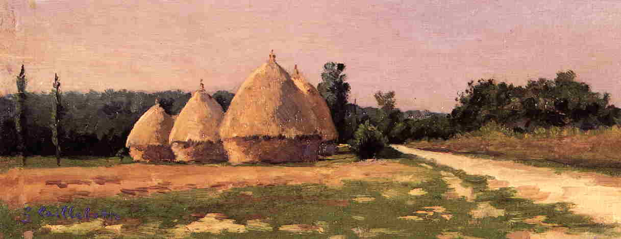 famous painting Landscape with Haystacks of Gustave Caillebotte