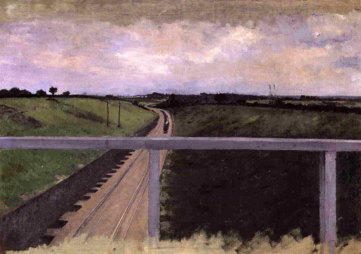 famous painting Landscape with Railway Tracks of Gustave Caillebotte