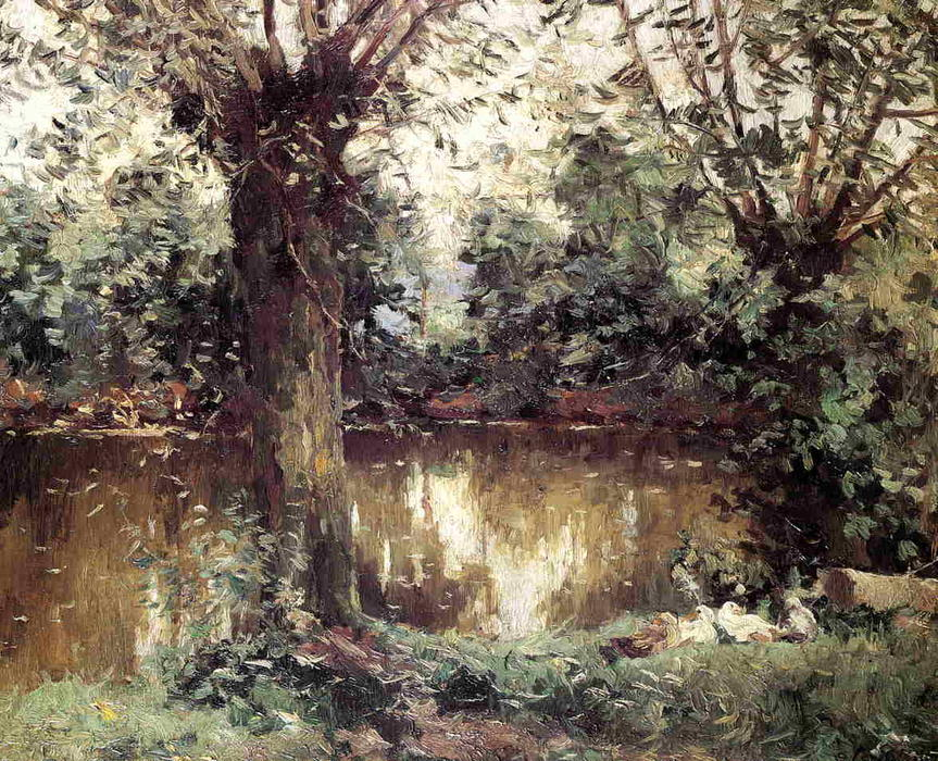 famous painting Landscape, Banks of the Yerres of Gustave Caillebotte