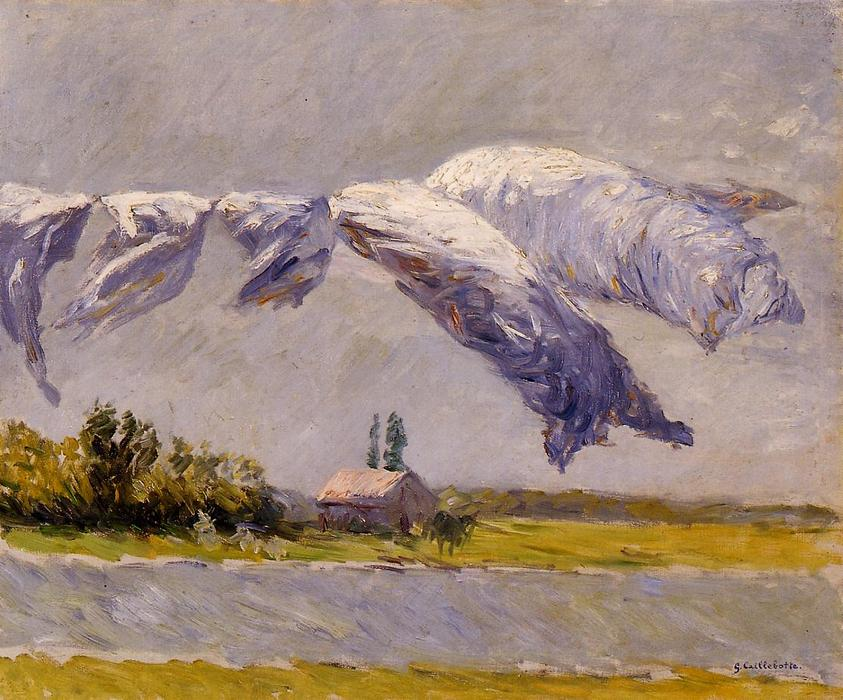 famous painting Laundry Drying, Petit Gennevilliers of Gustave Caillebotte