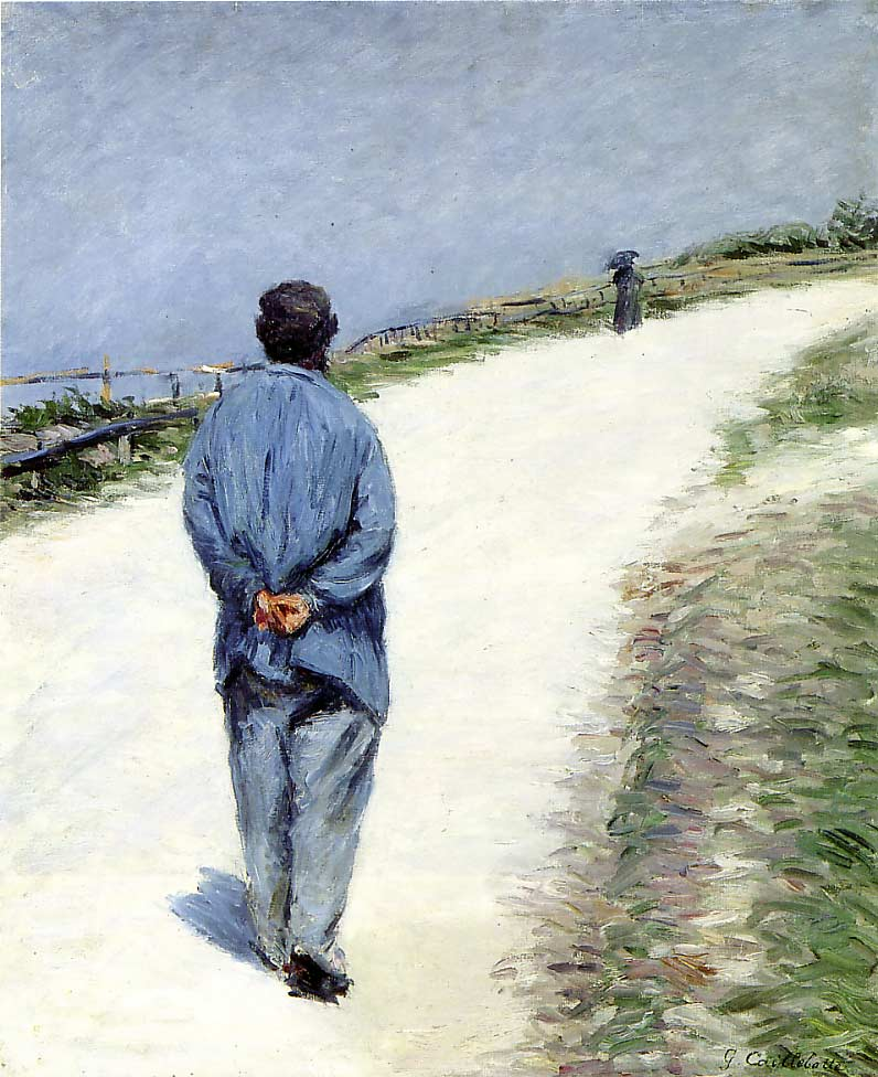 famous painting Man in a Smock aka Father Magloire on the Road between Saint-Clair and Etretat of Gustave Caillebotte