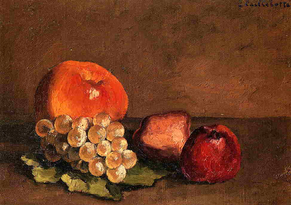 famous painting Peaches, Apples and Grapes on a Vine Leaf of Gustave Caillebotte