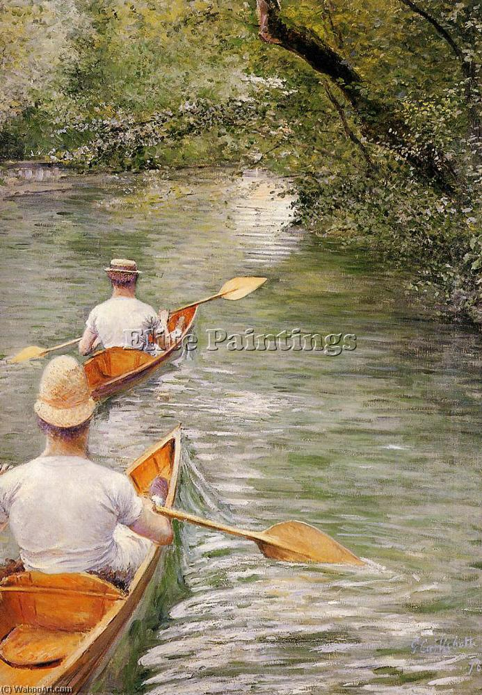 famous painting Perissoires aka The Canoes of Gustave Caillebotte